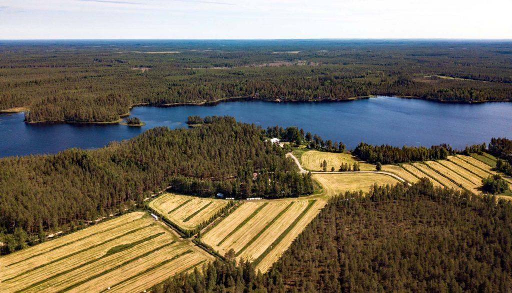 Kuvassa ilmakuva Perhon pelloista ja vesistöistä.